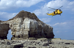 Rescue helicopter (ChrisBarrett87) Tags: rescue cliff yellow bay helicopter cave thornwick flamborough chrisbarrett87