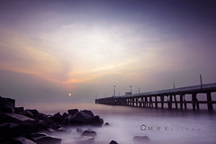 39 seconds of harmony (MRK Clicks) Tags: longexposure morning sun india water colors composition port sunrise nikon rocks wide harmony dreamy 11mm 39 pondicherry mrk lcw d7000 9stopnd nd500 mrkclicks lcwnd500 39secondsexposure