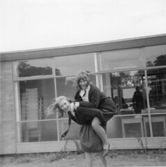 School Days - Early 1960s (TempusVolat) Tags: old school windows girls blackandwhite building film roy girl modern female vintage ties square piggy back interesting scans 60s uniform flickr dad mr legs image scanner pat father mother picture tie skirt scan mum squareformat scanned getty epson format 1960s swinging hop scanning gw patricia piggyback gareth sixties perfection mumdad skirts tempus v200 morodo epsonscanner swingingsixties 60sfashion sixtiesfashion photoscanner epsonperfection epsonv200 volat mrmorodo garethwonfor susanolney tempusvolat