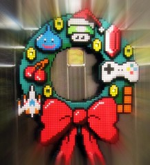 Happy Winter-een-mas! (lynn.gardner) Tags: wreath geekery pixelated wintereenmas