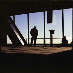 Contemplation of Nothing (NyYankee) Tags: windows sky usa chicago 120 6x6 film look mediumformat illinois alone observatory kodakportra160vc skydeck johnhancockcenter windycity pentaconsixtl autaut gotwind carlzeissjenabiometar80mmf28