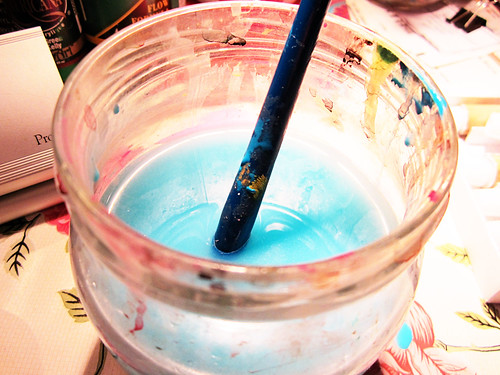 Blue water in jar