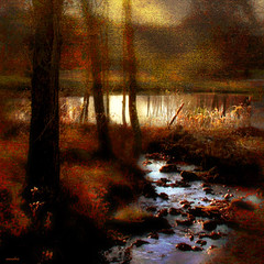 ....remembering.... (xandram) Tags: autumn trees light photoshop pond rocks stream manipulation textures idream