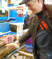 Mike Looks For Something To Take Home For Dinner (NOT!) (I Flickr 4 JOY) Tags: mike richmond geoduck springweather richmondpublicmarket feb2012