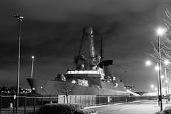 BW HMS Dauntless (PhilBehan) Tags: new night port docks river dark newcastle boat dock war ship navy royal battle tyne quay 45 wear destroyer northumberland northumbria mooring type sail late moor quays tyneside cruiser dauntless upon quayside hms northumbrian