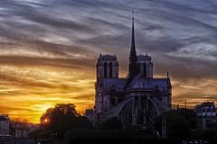Notre-Dame de Paris at sunset (marko.erman) Tags: city bridge light sunset sky panorama cloud sun paris france church water seine eau cityscape cathedral sony gothic notredame ciel romantic extrieur deau cloudscape cours iledelacit