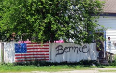 Bernie Sanders had lunch a couple miles from the fence. (kennethkonica) Tags: wood usa color green yard america canon fence spring weeds midwest random outdoor indianapolis politics indy indiana freedomofspeech neighbors global hoosiers canonpowershot marioncounty feeltheburn presidentialcandidates berniesanders hankyou politicalviews