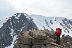 Large cornices at the top Coire Lochan with the main ridge in front (nic0704) Tags: mountain walking t landscape scotland highlands outdoor hiking hill peak an ridge climbing summit mountainside cairn gorm scramble cairngorm cairngorms foothill lochan coire sneachda fiacaill
