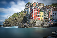 riomaggiore series (catherina unger) Tags: italy seascape beautiful clouds long exposure riviera colours village liguria terre cinque riomaggiore