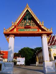 """Transcend..""... Temple entrance arch... Kalasin,  Thailand (larryoien) Tags: thailand temple arch buddha entrance wat kalasin travellight totallythailand lumixlx5"