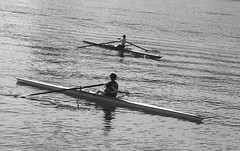 Rowing school (Federico Pitto) Tags: bw d76 hp5 nikonfe2 nikkor135mm28