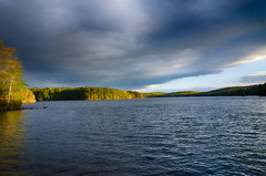 Big-Cloud (desouto) Tags: sky snow nature water clouds stream stones lakes ponds hdr