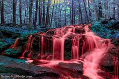 super saturated infrared waterfall (Brian M Hale) Tags: new red fall water colors forest photoshop canon dark ir waterfall crazy scary blood rainbow woods colorful long exposure colours brian hell newengland newhampshire surreal hellish nh hampshire creepy fantasy infrared taste colourful infra dpp hale false secluded lightroom whacky lifepixel t6i brianhalephoto