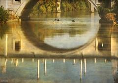 Navegando en el reflejo.... (nanettesol) Tags: roma textura rio boats agua paint ponte tiber tevere reflejo otoo effect brigde canoas lienzo dipinto rifliesso