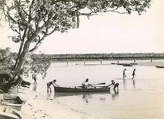 Holidaying on the Brunswick River, Brunswick Heads (NSW) (State Records NSW) Tags: bridge summer people blackandwhite holiday beach boat archives newsouthwales brunswickheads richmondtweed staterecordsnsw