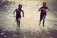 happy with friendship (Chot Touch) Tags: boys water river children play run malaysia moment frim kepong