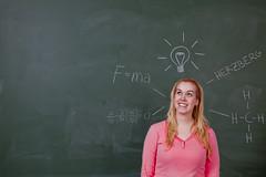 Creativity (Morten Falch Sortland) Tags: pink green girl norway idea norge classroom theory service bergen blackboard hordaland nhh herzberg theories greenboard teori idé breivik nhhsymposiet photomortenfalchsortland