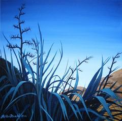 Silver Light (tracy macdonald) Tags: newzealand art painting island artist scene hills wellington flax tracymacdonald