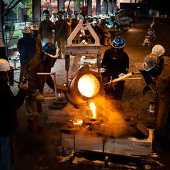 metal arts (f.larkin) Tags: hot industry bronze fire iron artist industrial glow steel weld flame smokestacks heat melt grime furnace sparks ladel relic molten ironore sloss blastfurnace slossfurnaces metalarts