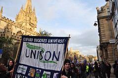 Brookes Unison marchers (Margaret Stranks) Tags: uk march rally protest oxford strike protesters n30 dayofaction 2011 tradeunions unityisstrength publicsectorworkers 30thnovember2011 pensionsprotest
