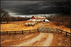 River Road Barn (TumblingRun) Tags: autumn storm fall texture barn rural nikon country fences iowa haybales hff d90 nikkor1685vr skeletalmess