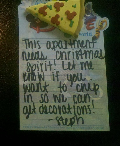 This apartment needs Christmas spirit! Let me know if you want to chip in so we can get decorations! —Steph