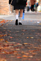 Autumn street (tanakawho) Tags: autumn people girl foot leaf shoes uniform dof bokeh pavement leg neighborhood fallen streetshot highsocks tanakawho