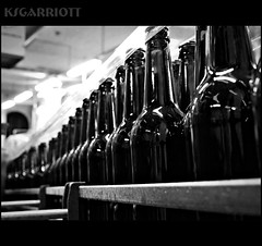 Glass Soldiers (KSGarriott) Tags: bw white black beer glass monochrome norway lumix norge blackwhite bottles row line panasonic brewery production brew hdr hdri grimstad gh2 tonemap ksgarriott scottgarriott fhotoroom gne