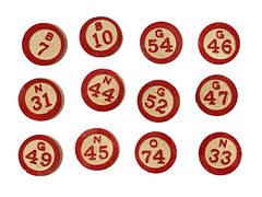BINGO! Wood Numbers (Vickie @ In My Head Studios) Tags: wood red collage vintage circles objects numbers round creativecommons bingo markers share stockphoto allrightsreserved realimagenotdigitallycreated victoriaporterinmyheadstudios donotpin