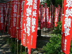 tokyo asakusa (4) (kexi) Tags: red white green japan temple tokyo nikon asia many may flags coolpix asakusa oriental 2010 instantfave thebestofday