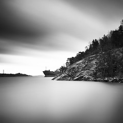 Ghost Ship.. (Peter Levi) Tags: longexposure sea sky blackandwhite bw blancoynegro water clouds ship sweden stockholm le blackwhitephotos travellingclouds
