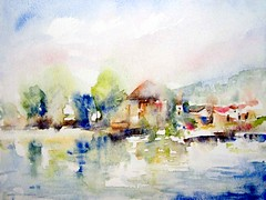 River Bank (Annette Henbery) Tags: trees summer reflection building tree beach water reflections river painting french view riverside lot bank watercolour riverbank riverbeach aiguillon