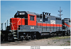 DMVW GP16 316 (Robert W. Thomson) Tags: railroad train diesel railway trains northdakota locomotive trainengine crosby geep emd gp7 gp16 gp11 fouraxle dmvw dakotamissourivalleyandwestern