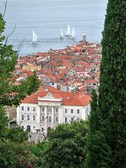 Glimpse of Piran, Slovenia: Tartini Square, sailboats on the Adriatic (Paul McClure DC) Tags: architecture coast scenery historic slovenia piran slovenija adriatic istria istra primorska pirano june2010