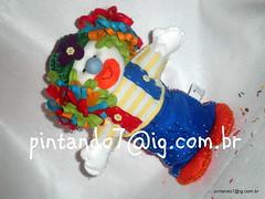 Palhaço Zica - centro de mesa (Mônica Pintando7) Tags: boneco circo felt feltro festa palhaço fantoche lembrancinha pintando7 centrodemesa dedoche pesodeporta palhaçozica