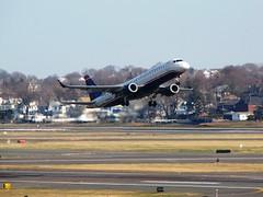 N945UW (redlegsfan21) Tags: boston us lawrence airport general massachusetts edward international logan airways awe bos 190 embraer kbos n945uw