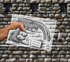 Pencil Vs Camera - 60 (Ben Heine) Tags: art childhood metal wall architecture danger composition paper photography skull graphicdesign sketch crazy scary gun peace child hand arte bend killing drawing stones mixedmedia surrealism rip details main fingers innocent workinprogress creative security rope save dessin proble