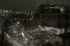 Sometimes the colors of the night is black ..._(Explored Highest Postion #1) (Christoph Pfeilstücker) Tags: blackandwhite bw night canon europe nacht explore luxembourg nuit letzebuerg luxembourgcity explored 5d2 xris74