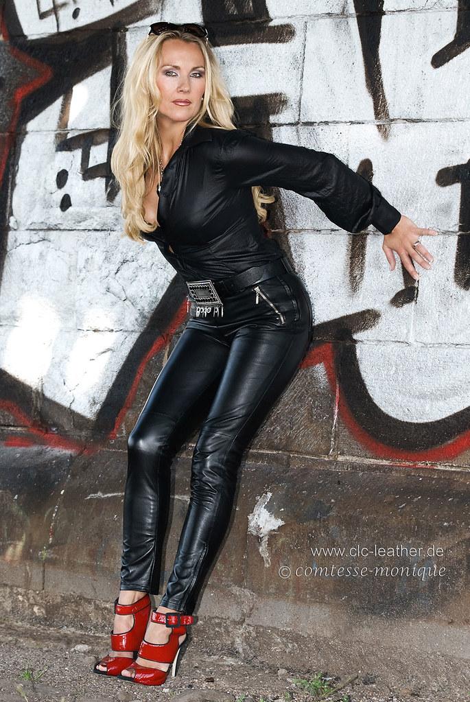 leather heels Mature pants