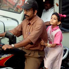 Father and daughter (bokage) Tags: india man girl scooter kerala calicut kozhikode