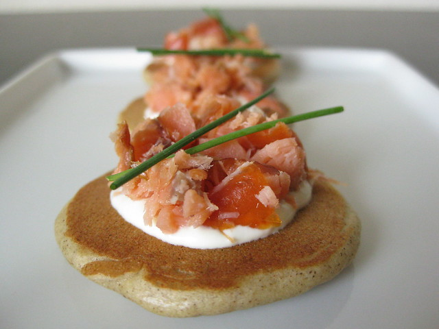buckwheat blini with smoked salmon and crème fraîche