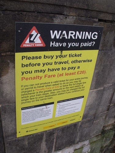 Yardley Wood Station - Highfield Road - Hall Green / Yardley Wood - sign - Warning Have you paid?