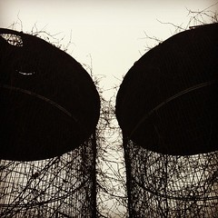 Silos (The Paul Miller) Tags: winter bw sculpture white black metal square wire weeds steel empty cage architectural squareformat sublime hefe grain iphoneography silo instagramapp uploaded:by=instagram