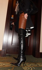 New Year's City Trip - Rosina on the way to the New Year's Party (Rosina's Heels) Tags: leather high boots thigh heel overknee