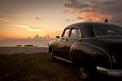 Happy New Year folks! (flamed) Tags: travel sunset holiday beach sc classiccar country cuba reflect chevy trinidad magichour goldenhour