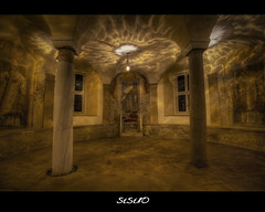 A Treasure (SIsifo73) Tags: italy rome church stone circle underground lights ancient nikon catholic paintings columns arches round chamber vault lamps marble stonewalls hdr throne santalessio aventino strongcontrast frescos d700 mygearandme mygearandmepremium sisifo73 sisifo73photography saintalessio