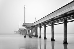 venice pier. venice beach, ca. 2011. (eyetwist) Tags: eyetwistkevinballuff eyetwist nikon nikond7000 d7000 nikkor capturenx2 1024mmf3545g longexposure tripod pier wharf white bw blackwhite monochrome wood timbers ghostly pilings venice venicebeach westla angeleno losangeles la socal california whitesky pacific ocean waves water sea blur sharp railing neutraldensity nd nd1000 nd1000x bw1101000xneutraldensityfilter neutral density grad 502 110 filter 10stops fog foggy horizon grey mist nd110 2011 beach pacificocean los angeles