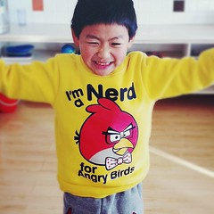 I'm a nerd for Angry Birds!! (jaletta) Tags: china boy portrait nerd birds kids children square asian sweater kid chinese squareformat angry normal angrybirds iphoneography instagramapp uploaded:by=instagram