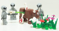 Alien Experiment (Silenced_pp7) Tags: flowers 6 landscape cow ancient cows lego circles alien bull ufo aliens meat butcher crop series custom six vignette tow abduction autopsy wiz moc vignettes vig vigs ancientaliens toywiz