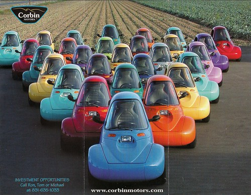 corbin electric car auto ads advertising brochure sparrow 2002